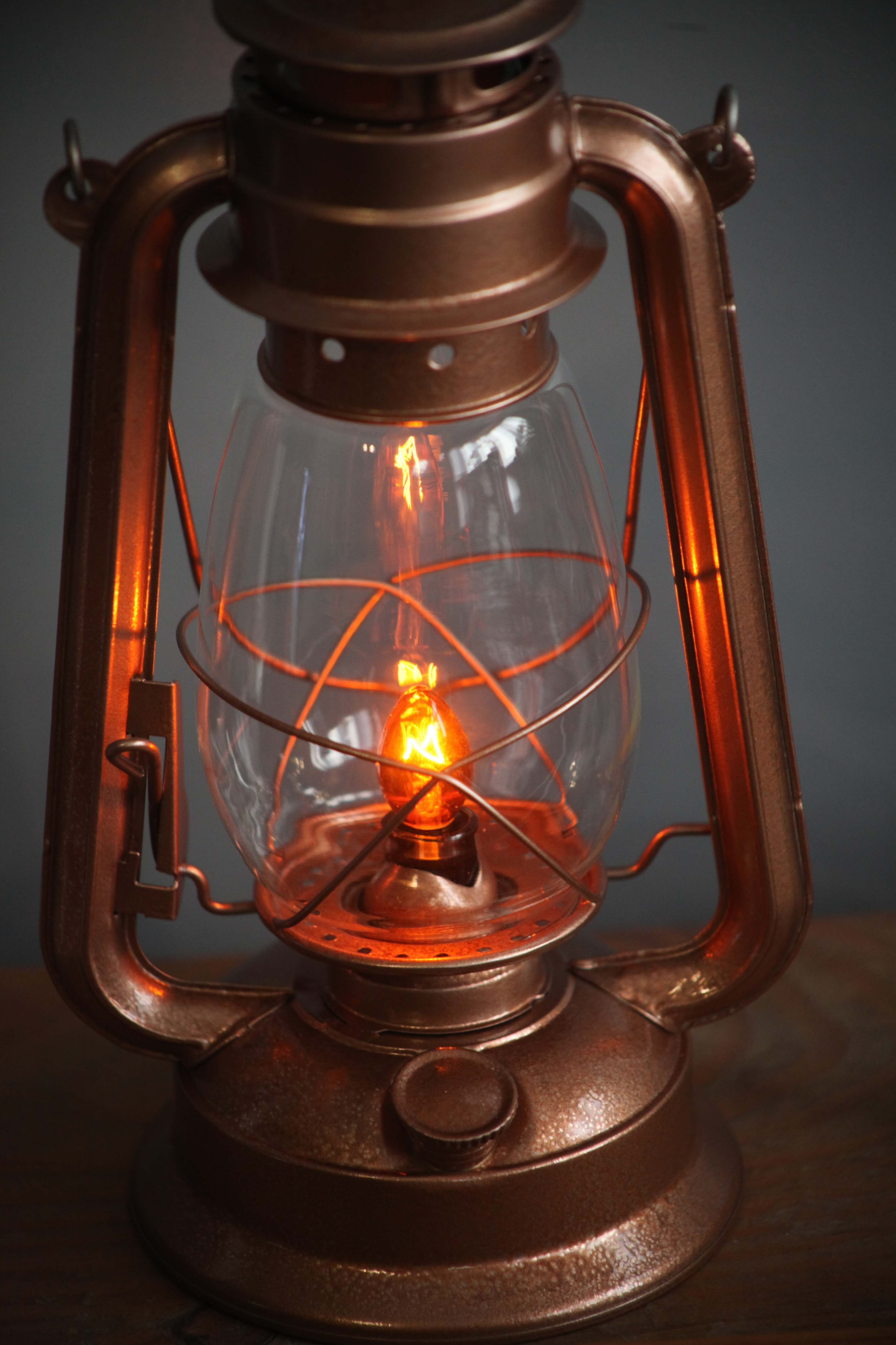 Electric Lantern Table Lamp, COPPER Finish, DIMMER Switch ...