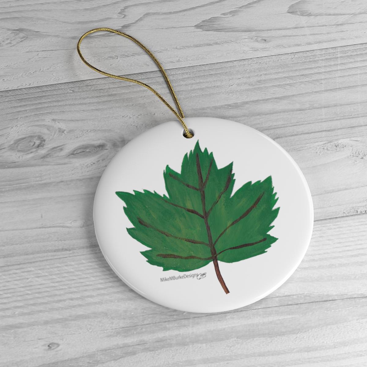 Green Maple Leaf CHRISTMAS ORNAMENT, Ceramic, Nature Decor ...