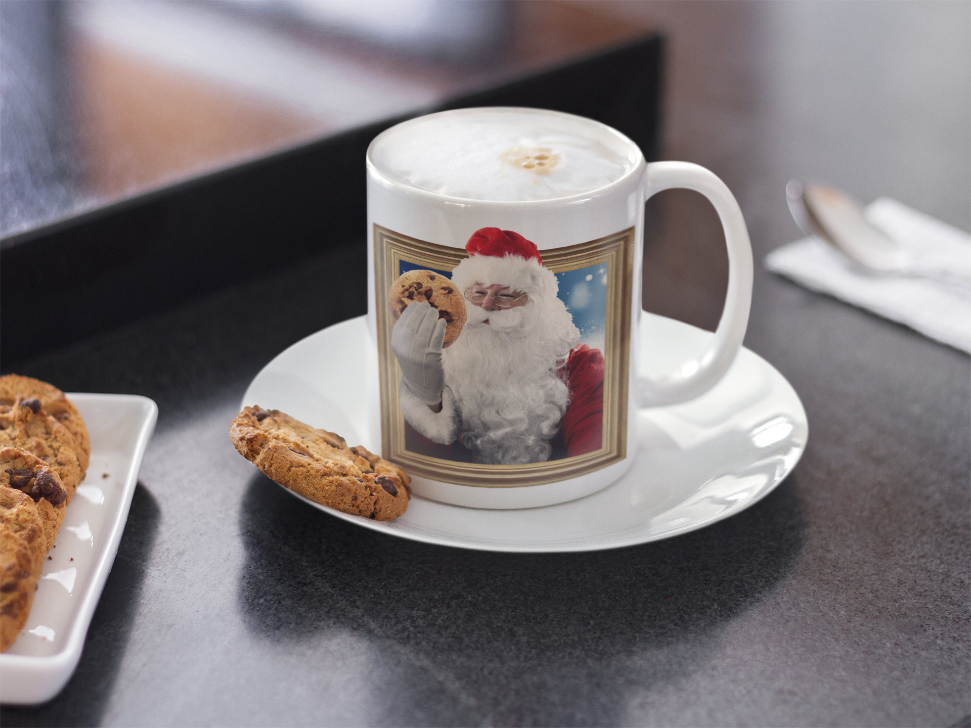 Santa Claus Mug Christmas Cookie Coffee Cup Holiday Decor Mikemburkedesigns
